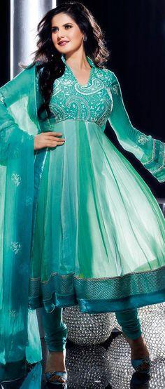 Sea Green Faux Chiffon Churidar Kameez @ $134.64   Shop @ http://www.utsavfashion.com/store/sarees-large.aspx?icode=kds175