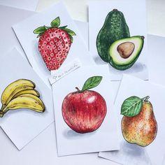 Вся серия. #маркеры #markers #apple #арт #иллюстрация #яблоко #банан #авокадо #груша #клубника #apple #avocado #banana #pear #strawberry