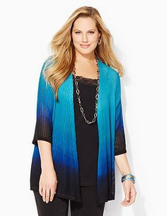 Dip-Dyed Cascade Cardigan: This beautiful cascade cardigan flows softly into a dip-dye ombre effect for a graceful look. Herringbone design features tiny openwork detail along the stretch fabric. Openfront. Three-quarter sleeves.  catherines.com #catherines #plussizefashion #fallstyle #getthelook