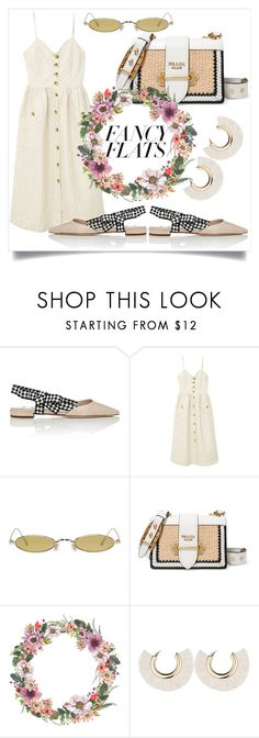 """""""Magic Slippers: Fancy Flats (street style)"""" by mdoraki ❤ liked on Polyvore featuring Miu Miu, MANGO, Gentle Monster, Prada and chicflats"""