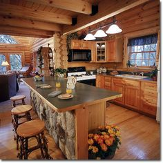 Love the wood with black appliances