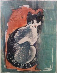 """Joachim Rágóczy (1895-1975), 1953, Cat, color woodcut. German painter, printmaker and """"cat man"""".iL"""