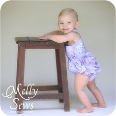 Adorable baby girl romper tutorial and free pattern by Melly Sews