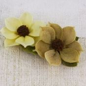 Butter Nut Fabric Flowers - Sassy Collection - Prima
