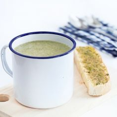 Broccoli soup with anchovy croutons