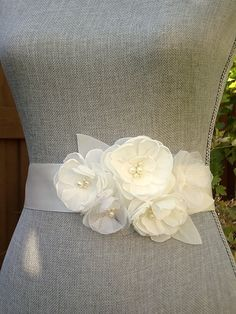 Ivory Chiffon and Organza Wedding Sash by browneyedgirlsboutiq