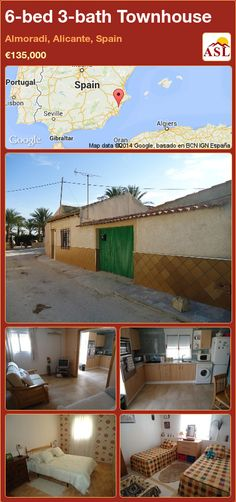 Townhouse for Sale in Almoradi, Alicante, Spain with 6 bedrooms, 3 bathrooms - A Spanish Life Portugal, Open Plan Kitchen Diner, Alicante Spain, Rooftop Terrace, Maine House, Great Places, Townhouse, Bath, Bedroom
