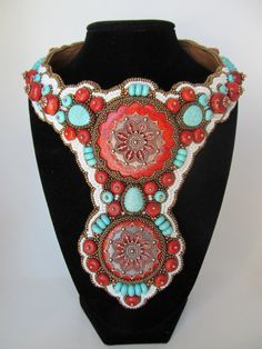 Southwest Style Turquoise Howlite and Red by christianvrodriguez,
