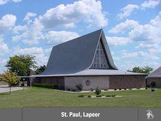 Paul Lutheran Church, School, Preschool, and Child Care Center in Lapeer, Michigan. Modern Church, Mid-century Modern, Lapeer Michigan, Lutheran, Child Care, Googie, Preschool, Mid Century, City