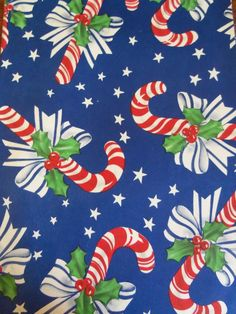Candy Cane Gift Wrap. Vintage Christmas Wrap.