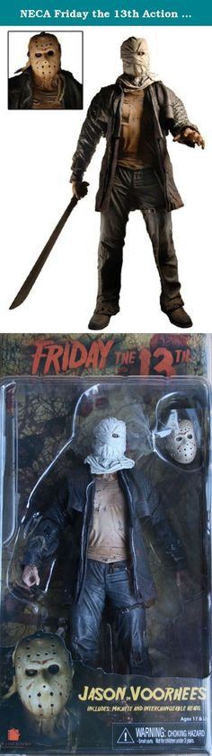 NECA Friday the 13th Action Figure Jason Voorhees 2009 Remake. From the horrifying remake of the Friday the 13th horror classic, this fearsome Jason Voorhees Action Figure stands about 7-inches tall! He comes with 2 interchangeable heads and a machete that can slide in and out of a sheath on his left leg.