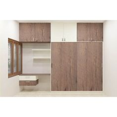Modular wardrobe with plywood and laminate finish. Sliding door wardrobe with wall shelf, study unit and loft. The tremendous designs make the users utilize this furniture in a very relevant way. The sophisticated style with its great look adds a spectacular effect.