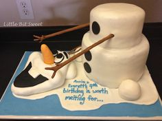 Frozen Olaf Birthday Cake www.littlebitsweet.co