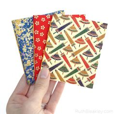 Set of 3 Notebooks - Great Stocking Stuffer Made with Handmade Japanese Paper
