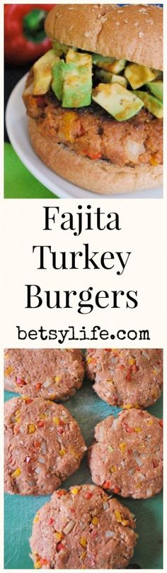 Fajita Turkey Burgers. A healthier option for your next backyard BBQ. These definitely aren't lacking any flavor!