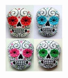 Four cute felt Day of the Dead sugar skulls. #felt #Day_of_the_Dead