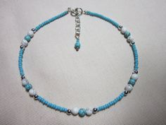 Anklet+Handmade+Anklet+Howlite+Beaded+Anklet+by+TheLucieCollection,+$8.50