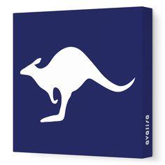 Navy Kangaroo Silhouette - Animal Silhouette - Avalisa.com #nursery #wallart #art #canvas