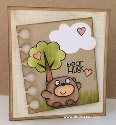 Bear Hugs Materials used: Stamps - A Little Lovin, Cosmos, Summer Groves, Warm Hearts (Paper Smooches); Wise Dies - Clouds, Paper (Paper Smooches); Designer Paper - 6x6 Paper Pad - True Love (Basic Grey); Copic Markers; Distress Ink, and Glossy Accents (Ranger).