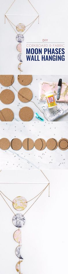 I absolutely love this new spin on the moon phases wall hanging. It looks like s… I absolutely love this new spin on the moon phases wall hanging. Definitely going to have to try this! Diy Wall Art, Diy Wall Decor, Diy Home Decor, Baby Decor, Diy Wand, Mur Diy, Diy Cork Board, Ideias Diy, Diy Décoration