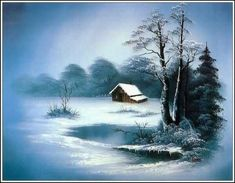 New landscape paintings oil winter bob ross Ideas Oil Painting Pictures, Pictures To Paint, Art Pictures, Landscape Drawings, Landscape Art, Landscape Paintings, Winter Painting, Winter Art, Pinturas Bob Ross