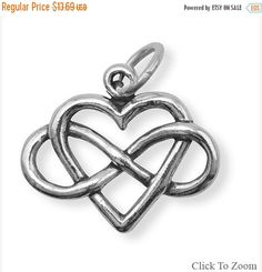 NOW ON SALE Sterling Silver Infinity Heart Charm by jewelrymandave