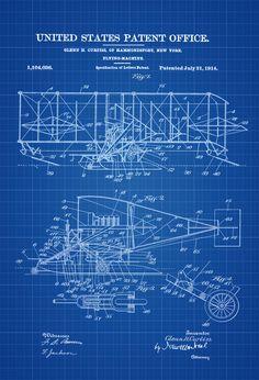 Curtiss Flying Machine Patent Print - Airplane Blueprint Vintage Aviation Art Airplane Art Pilot Gift  Aircraft Decor Airplane Poster by PatentsAsPrints