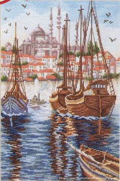 BOATS 1 (3) Cross Stitch Sea, Cross Stitch Boards, Counted Cross Stitch Patterns, Cross Stitch Designs, Cross Stitch Embroidery, Cross Stitch Landscape, Vintage Cross Stitches, Blue Cross, Christmas Coloring Pages