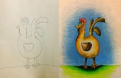 Creative Dad Colours His Kids' Drawings. Turns this bird into a bird with pride. Just look at that head and tail held high! Lovely!  #rosiesteaparty #rosiesworld #kidsart #kidsdrawing #kidspainting #kidsartsandcrafts