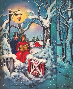 Victorian carolers at Christmas.