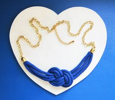Royal Blue Sailor knot Cord/Rope Necklace by Menoyu on Etsy, £17.00