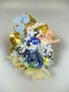 Baby Boy Shower Corsage Blue Vintage Stork Blue Yellow Decoration