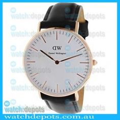 Daniel Wellington 0508DW Sheffield Classic women's watch White Dial Black Leather 36mm #watchdepotscom