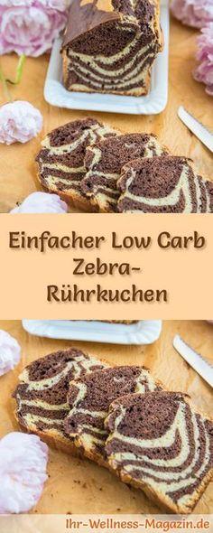 Einfacher Low Carb Zebra-Rührkuchen - Rezept ohne Zucker Vegan Cake vegan cake without sugar Healthy Protein Snacks, Protein Desserts, Low Carb Desserts, Healthy Dessert Recipes, Low Carb Recipes, Baking Recipes, High Protein, Dinner Recipes, Bolo Vegan
