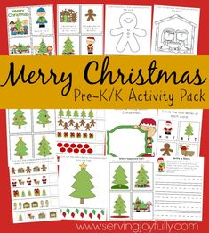 Merry Christmas  Free Activity Pack for Pre-K/K. 25+ Pages of Activies from Serving Joyfully