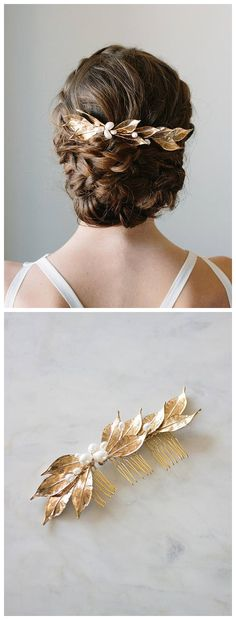 Gold Leaf Hair Comb   Bridal Vine Headpiece   Wedding Hair Piece   Leaf Hairpiece   Gold and Pearl Hair Comb [Lucia Headpiece]