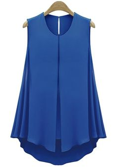 Blue Plain Sleeveless Loose Chiffon Blouse