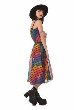 Over The Rainbow 70s Striped Disco Sundress w Belt