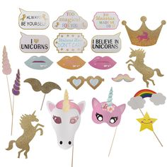 26PCS DIY Photo Booth Unicorn Masks Christmas Party Home Props For Kids Children Gift Toys