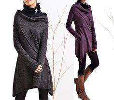 Dream cowl collar woolen tunic dress and cotton por idea2lifestyle