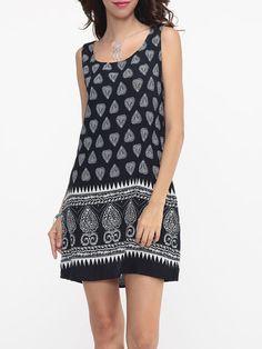 Scoop Neck Cotton Tribal Shift Dress