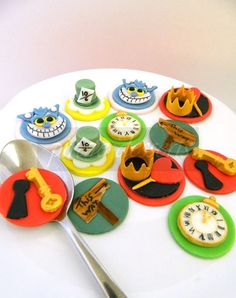 Edible Alice in Wonderland Cupcake toppers Un Birthday Party Set - Wonderland Characters Fondant cupcake decorations WONDERLAND  (12 pieces) via Etsy---MAKE THESE WITH FONDANT!