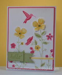 Stampin' Up! Wildflower Meadow Simple 3-D card #HandStampedStyle