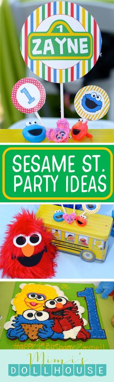 Sesame Street Party: Zayne's World. Can you tell me how to get to Zayne's First Sesame Street Party? Check out our other posts for more Sesame Street Party Ideas and Inspiration. via @mimisdollhouse