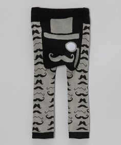 Take a look at this Black Moustache Leggings by Doodle Pants on #zulily today!