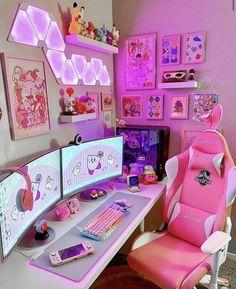 Cute Room Ideas, Cute Room Decor, Playroom Decor, Room Design Bedroom, Room Ideas Bedroom, Bedroom Decor, Gaming Room Setup, Gaming Rooms, Pc Setup