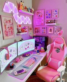 BROTHERTEDD.COM - gamer core is so cringe and ugly with the black... Bedroom Setup, Room Ideas Bedroom, My Room, Girl Room, Gaming Room Setup, Cool Gaming Setups, Pc Setup, Kawaii Bedroom, Otaku Room