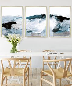 Abstract Art Print Set Set of 3 Prints Ocean Print digital Abstract Oil, Abstract Print, Blue Abstract, Large Wall Art, Metal Wall Art, Oil Painting Texture, Art Brut, Sea Art, Seascape Paintings