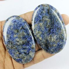 Sodalite 69179: 460 Ct Oval Shaped Natural 2 Pcs Whitish Blue Sodalite Cabochon Gemstone St25 BUY IT NOW ONLY: $99.99