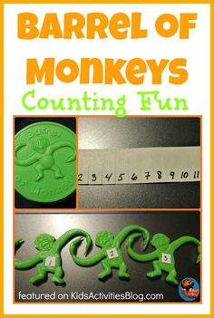 """August 28 - Curious George Math Wednesday Barrel of Monkeys with numbers & Little Monkeys Jumping on the Bed"""" book, make monkey bread in jar, read Curious George book Math Activities For Kids, Games For Kids, Space Activities, Fun Games, Numbers Preschool, Learning Numbers, 5 Little Monkeys, Barrel Of Monkeys, Kids Education"""